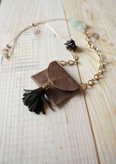 Brown Leather medicine bag Mini Purse Necklace by TribesSociety