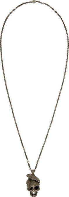 Alexander McQueen - Gunmetal Feather Skull Pendant Necklace