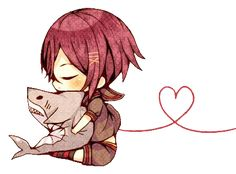 """This chibi is based off the anime """"Free!"""" This anime chibi picture is of Rin Matsuoka."""