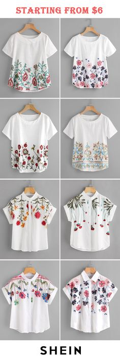 embroidery blouses start at 6 Embroidered Clothes, Embroidered Blouse, Embroidery Dress, Stylish Dresses, Sewing Clothes, Designer Wear, Fashion Outfits, Womens Fashion, Refashion