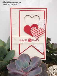 Stampin´Up!, Herzklopfen-Groovy Love Card Making Inspiration, Making Ideas, Valentine Love Cards, Valentine Ideas, Valentine's Cards For Kids, Making Greeting Cards, Wedding Anniversary Cards, Heart Cards, Creative Cards