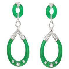 Sophia D Carved Jade Diamond White Gold Earrings | From a unique collection of vintage drop earrings at https://www.1stdibs.com/jewelry/earrings/drop-earrings/