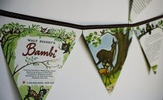 Bambi Book Bunting// nursery decor// Disney party// by embigley, $15.00