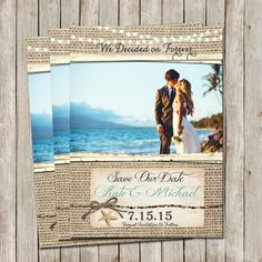 Beach Save The Date Destination Wedding Photo Turquoise Lights Digital File Printable We Decided On Forever 5x7