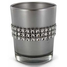 Silver+Glass+Candle+Holder+with+Faux+Diamonds