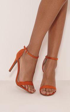 23fceda5d36 Clover Orange Faux Suede Strap Heeled Sandals