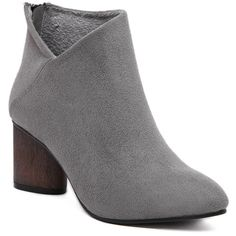 V-Shape Pointed Toe Zipper Ankle Boots (51 CAD) ❤ liked on Polyvore featuring shoes, boots, ankle booties, pointy-toe boots, zipper ankle boots, zippered ankle booties, pointed toe booties and pointed-toe boots