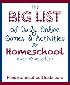 The BIG LIST of 50 Free Online Games and Activities for Homeschool Students! Rhythm Games, Games Memes, Free Homeschool Curriculum, Homeschooling Resources, Educational Websites, Learning Websites, Learning Games, Educational Activities, Learning Resources