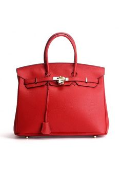 ec66ca14cbcc High Quality leather handbag comes with gold toned hardware Red Leather