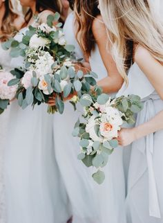 light blue bridesmaids | bridesmaid separates | eucalyptus wedding bouquets with blush and white | more wedding inspiration @danellesbridal | danellesboutique.com