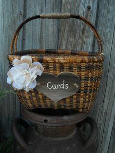 Wedding Card Holder - Rustic Wedding Card Holder - Basket Card Holder