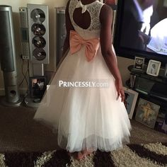 """Sheer Neck Ivory Lace Flower Girl Dress with keyhole back/navy blue bow"" ---- Princessly.com Customer Photos"