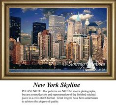 New York Skyline, Alluring Landscape Counted Cross Stitch Pattern, Landscapes, Landscape and Nature Counted Cross Stitch Pattern #crossstitchonpinterest #landscapecrossstitch #newcrossstitchpatterns
