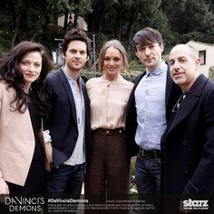 Lara Pulver (Clarice Orsini), Tom Riley (Leonardo da Vinci), Laura Haddock (Lucrezia Donati), Blake Ritson (Count Riario) and series creator David S. Goyer on a press tour for Da Vinci's Demons in Italy (2013).