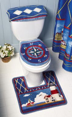 for the mom in law Nautical Bathroom Lighthouse Toilet Commode Set