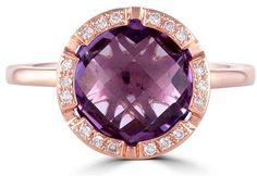 Effy Gemma 14K Rose Gold Amethyst and Diamond Ring