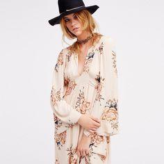 HDY Haoduoyi New Fashion Bohemian Dress Women Printing Drawstring Pleated Dress Long Sleeve Floral Print Vestidos