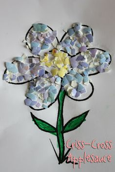 Flower Mosaic- made from colored hard boiled eggs.