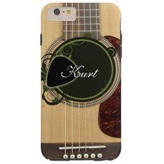 Classic Acoustic Guitar with custom monogram name Tough iPhone 6 Plus Case