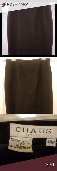 Black wool skirt Chaus Petite size 10 100% wool skirt in good used condition Great piece to wear with all sorts of tops, blouses, and jackets. Black skirt always useful and always in style!💜💋💜 *🌞Priced for a quick sell or to bundle with one of my other pieces Chaus Petites Skirts