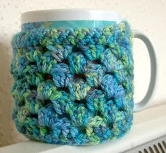 Coffee Mug Cozy Pattern Free | Crochet Pattern - Granny Stripe Mug Cozy with Built-in ... | Made by ...