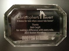 A wicked awesome little paperweight that I received today from Christopher's Haven for running the Boston Marathon in 2013 for this outstanding nonprofit organization...