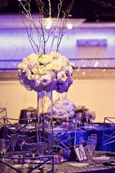Winter wonderland style wedding centerpiece.