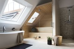 Post with 0 votes and 2086 views. [Room] Shower, bath and sauna area in a penthouse loft located in Berlin, Germany. Interior Design Examples, Interior Design Inspiration, Design Ideas, Attic Bathroom, Bathroom Interior, Bathroom Modern, Minimalist Bathroom, Bathroom Taps, Nature Bathroom