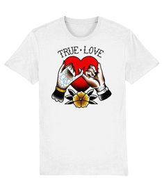 Tattoo T shirts : True Love - White  The heart; always associated with true love. Here we have the lovers' fingers entwined combined with the rose which means their love is for all eternity.   Material: 100% organic ringspun combed cotton.  Medium fit. Single jersey. Set-in sleeve. 1x1 rib at neck collar.  Inside back neck tape in self fabric.  Sleeve hem and bottom hem with wide double needle topstitch.  Weight: 180 gsm. True Love Tattoo, Tattoo T Shirts, Love T Shirt, Neck Collar, White Tees, Street Wear, Unisex, Fingers, Tape