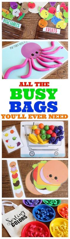 BEST BUSY BAGS EVER: TONS of ACTIVITIES So many fun and free busy bag ideas - perfect for keeping those toddlers busy!So many fun and free busy bag ideas - perfect for keeping those toddlers busy! Toddler Play, Toddler Learning, Preschool Learning, Preschool Activities, Teaching, Toddler Games, Learning Games, Toddler Busy Bags, Motor Activities