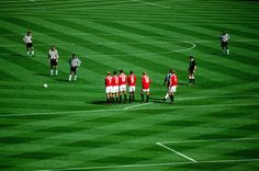 Nolberto Solano prepares to take a free kick against Manchester United during the 1999 FA Cup final.