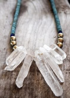 Bohemian Style Serafini Amelia Boho Gypsy-Natural Elements-Necklace-Enchanted Gypsy Earth Quartz Necklace with African Beads Beads Jewelry, Crystal Jewelry, Crystal Necklace, Boho Jewelry, Jewelry Crafts, Jewelery, Jewelry Accessories, Handmade Jewelry, Jewelry Design
