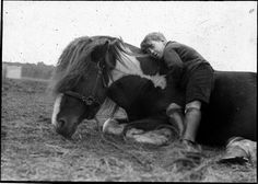 Horse and boy lying down by Tyne & Wear Archives & Museums, via Flickr.   This image comes from a collection of glass slides of fairground scenes found in the stores at Discovery Museum, Newcastle upon Tyne.