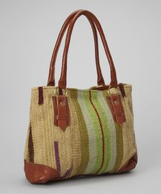 Love this Brown & Green Penelope Wool Tote on #zulily! #zulilyfinds