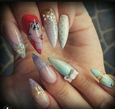 little mermaid nails. stiletto nails. disney princess
