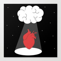 Frameless Canvas Prints with brain and human heart concept illustration by Alice Vacca #brain #human #heart #concept #abduction #love #feeling #romantic #mind #frameless #canvas #print #art #home #decor