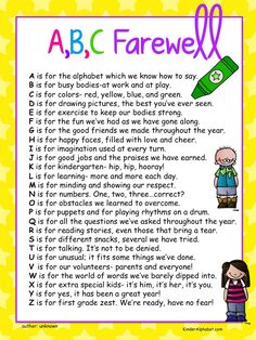 Kinder Alphabet: End of the Year Ideas plus Free Poems and Diplomas- would work with a kindergarten graduation page. End Of School Year, End Of Year, Abc School, Kindergarten Poems, Kindergarten Graduation Poems, Preschool Graduation Gifts, Free Poems, Pre K Graduation, Graduation Theme