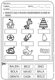 Atividade pronta - Nome dos desenhos Portuguese Lessons, Learn Portuguese, Summer Activities, Learning Activities, School 2017, English Activities, Learning Spanish, Learn English, Literacy