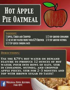 Hit apple pie oatmeal using keurig Keurig Recipes, Coffee Recipes, Apple Pie Oatmeal, Yummy Food, Tasty, Breakfast On The Go, Breakfast Recipes, Vegan, Cooking