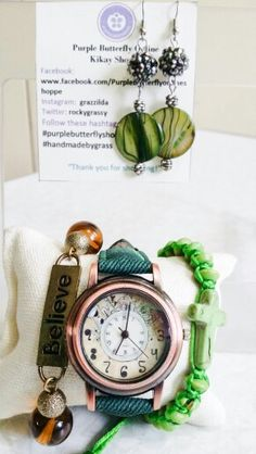 Green Vintage Watch Arm Candy with Earrings