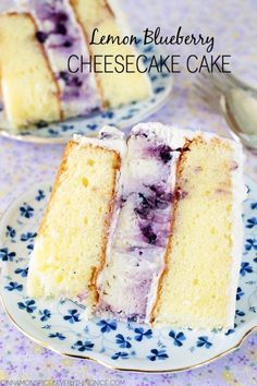 A layer cake with a luscious blueberry cheesecake in the middle! The best of both worlds!