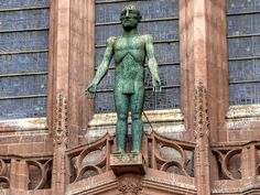The massive statue of the Risen Christ, which stands over the West Doors outside the cathedral, was the last work of sculptor Elisabeth Frink. Anglican Cathedral, Cathedral Church, Elisabeth Frink, Liverpool Cathedral, The Risen, Christ Is Risen, Church Of England, Churches Of Christ, English Heritage
