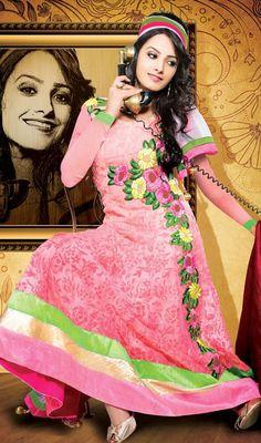 Natassha Pink Chiffon Long Length Anarkali Suit Price: Usa $141, British UK Pound £82, Euro104, Canada CA$151 , Indian Rs7614.