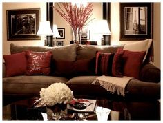 My Living Room decorated at Christmas. Love the sparkly pillows on my couch. Have had them forever!