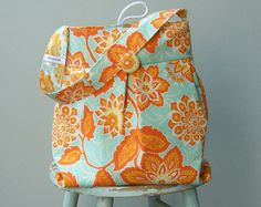Robins Egg Blue Hobo, Floral, Orange, Large, Reversible, Joel Dewberry Fabrics on Etsy, $48.00