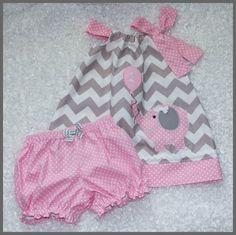 Super Cute Gray Chevron Pink Elephant Birthday dress and bloomer set