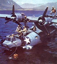 War History Online — PBY-5A Catalina at rest in water....