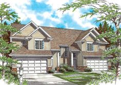 Plan 69378AM: Large Colonial Style Duplex Plan
