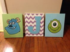 Had so much fun making these for my friend's Monster's Inc themed nursery!