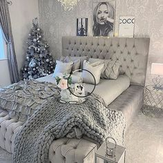 Beautiful bedroom design and great application of our Hoblio Argento Base . - Furnish your house: design and decoration ideas - Beautiful bedroom design and great application of our Hoblio Argento Base … Cute Bedroom Ideas, Cute Room Decor, Girl Bedroom Designs, Room Ideas Bedroom, Home Decor Bedroom, Living Room Decor, Bedroom Inspiration, Grey Bedroom Design, Bedroom Decor For Teen Girls Dream Rooms